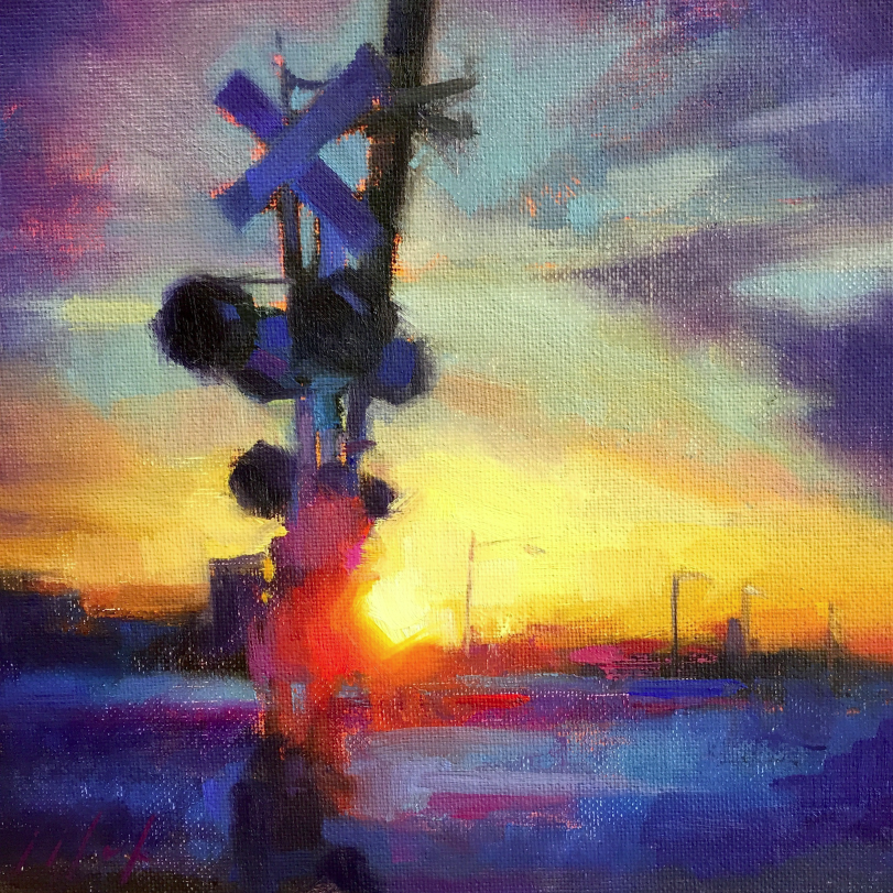 "College Avenue Crossing  2016 Oil on canvas 8"" x 8"" SOLD"