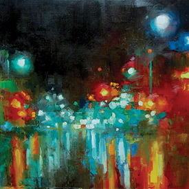 "Rainy College Ave Looking East  2012 Oil on linen 25"" x 17"" SOLD"