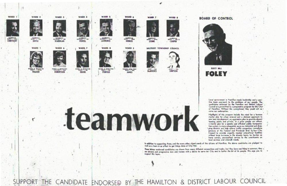 Labour's Voice slate, Hamilton Municipal Election 1966 - Teamwork Ad.jpg