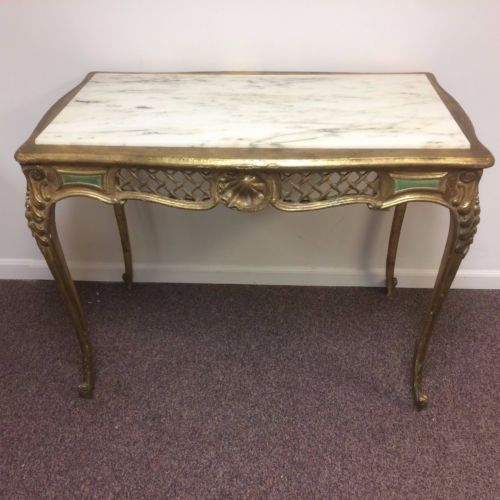 Antique French Carved Gold Leaf Hall Table W/ White Marble Top U2014 Ardesh