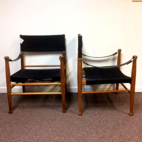 Mid Century Canvas Safari Chairs