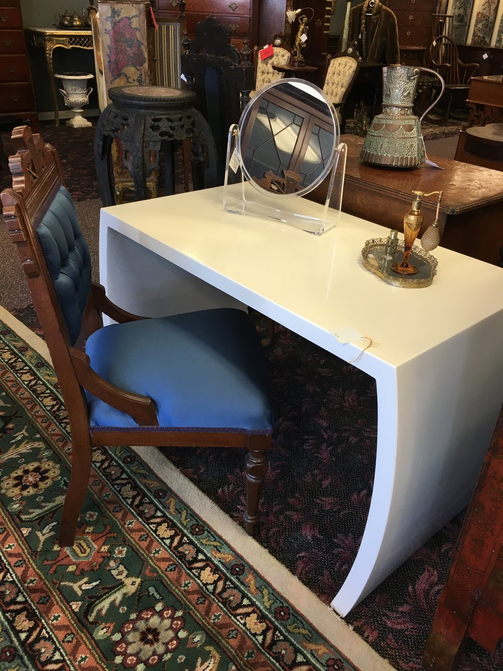Vintage White Enamel Parsons Table