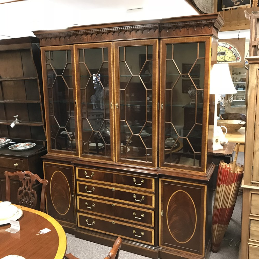 Mahogany Breakfront China Cabinet By Hickory Chair Co. With Banded Inlay U2014  Ardesh