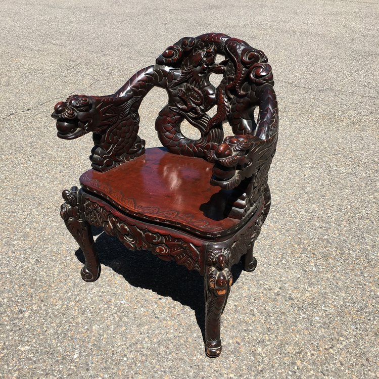 Chinese Dragon Carved Arm Chair - Chinese Dragon Carved Arm Chair — Ardesh