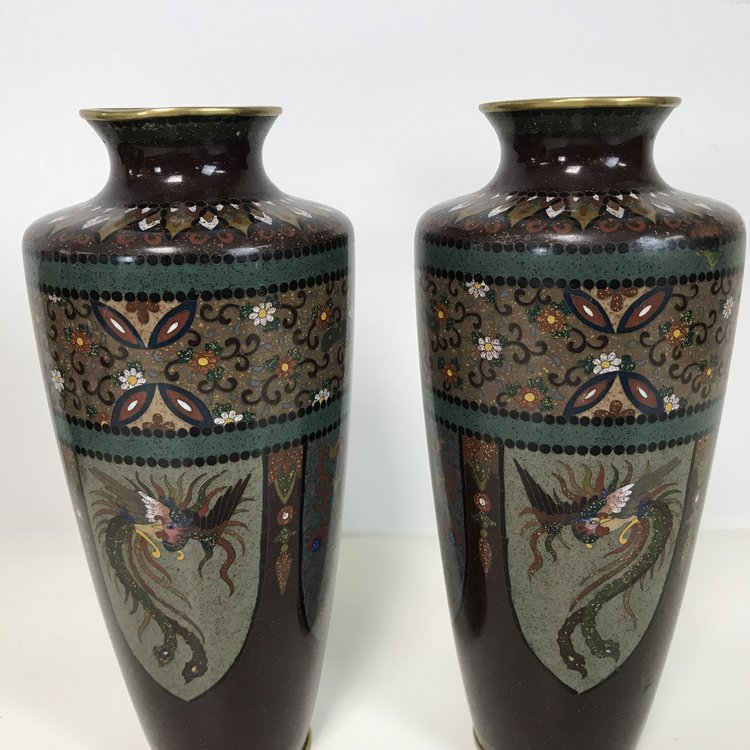 Fine Pair Of Antique Japanese Meiji Period Cloisonne Vases 85 Ardesh
