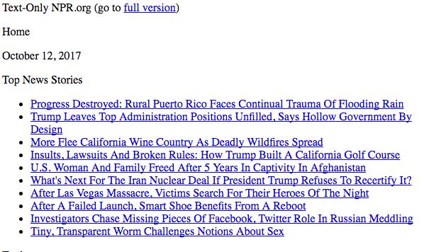 Il sito solo testo di NPR.