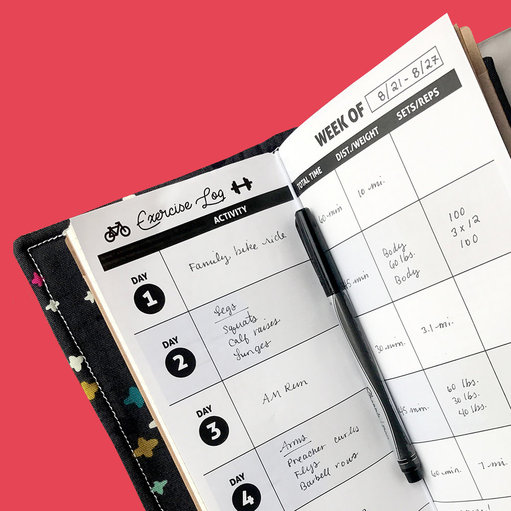Free Traveler Notebook Exercise Tracker - Enjoy a custom 5-day exercise tracker for your bullet journal or traveler notebook!Simply print on heavy-weight paper, then cut on the dotted line (to fit in a standard traveler journal). Plan your weekly sweat sessions and track your fitness progress.