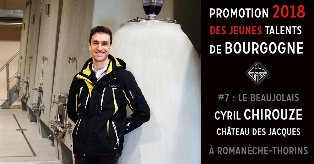 Cyril est ingénieur agronome et œnologue. Il est arrivé au Château des Jacques en 2007 en tant que responsable viticole. Depuis 2014, Il pilote complètement ce très grand domaine du Beaujolais dont les 88 ha de vigne se répartissent sur Moulin-à-Vent, Chenas, Morgon et Fleurie. Les vins sont élaborés avec une méthode parcellaire bourguignonne mettant l'accent sur la personnalité unique de chaque terroir à l'intérieur d'une appellation. 2 cépages sont travaillés : le Gamay pour les rouges et le Chardonnay pour les blancs. Le Gamay à jus noir est de la famille du Pinot. Plus généreux que son cousin, il est parfaitement adapté au vieux granit pauvre et acide de la région. Le travail précis et exigeant de Cyril à la vigne comme au chai, permet de redonner à ce cépage toutes ses lettres de noblesse. Ses crus sont des vins de garde qui demandent une patience d'au moins 5 ans afin d'exprimer tout leur potentiel. Les vignes sont cultivées dans le respect de l'environnement, les rendements sont limités, les vendanges manuelles et l'interventionnisme minimum pour laisser aux vins et aux terroirs la liberté de s'affirmer pleinement.