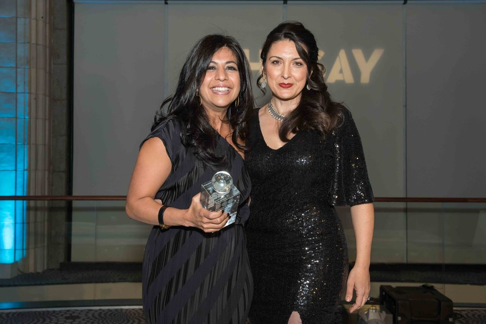 Honoree Salima Popatia, VP Global Online Marketing & Merchandising at Estee Lauder, and host Shenan Reed, President, Chief Client Officer, Publicis Groupe