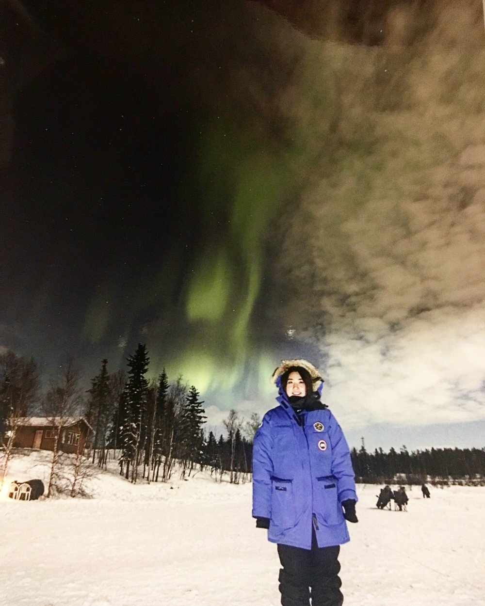 Claire witnessing Aurora in Yellowknife, Canada