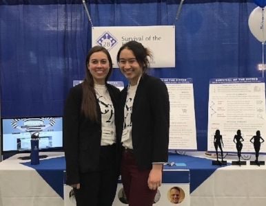 Rachel and her co-founder presenting at the 2018 Draper Competition.
