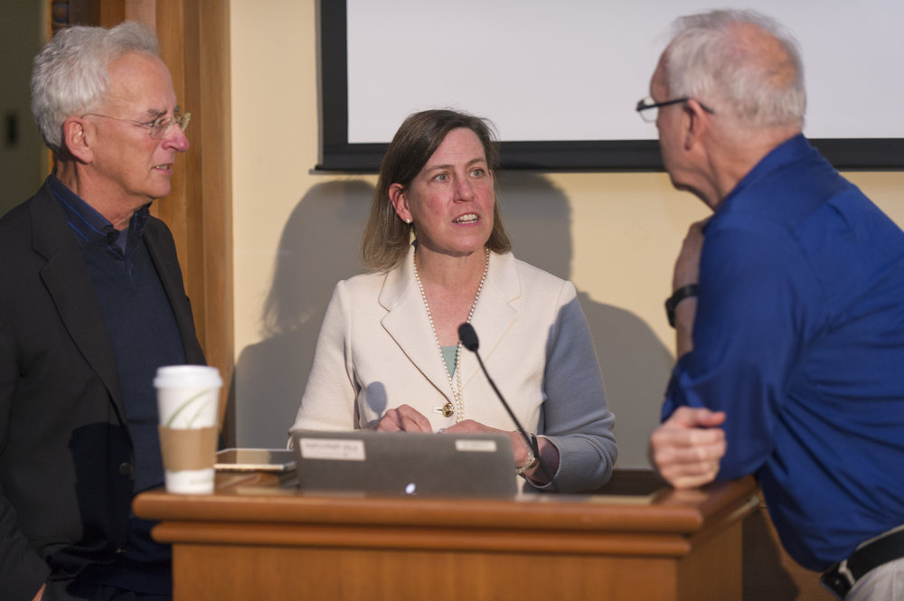 Busy '83 catches up with her former economics professors Andrew Zimbalist and Randy Bartlett.