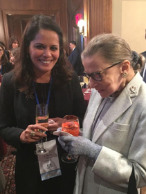 "Mona '88 with Ruth Bader Ginsburg at the ""She Opened the Door conference"" at Columbia University in 2018, the first women's conference, where both were speakers."