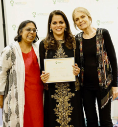 Mona '88 (middle), with Ruchira Gupta (left), founder Apne Aap and Gloria Steinem '56 , Board Chair receiving the Last Girl award in 2017 for her work supporting the most vulnerable girls.