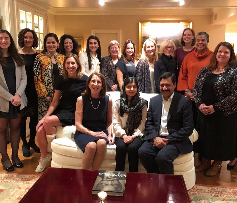 Mona '88 with Malala Yousufzai in January 2019, having dinner with women who support women, pledging to support Malala's efforts to make education available to all young people around the world, especially in remote parts of South Asia and Africa.