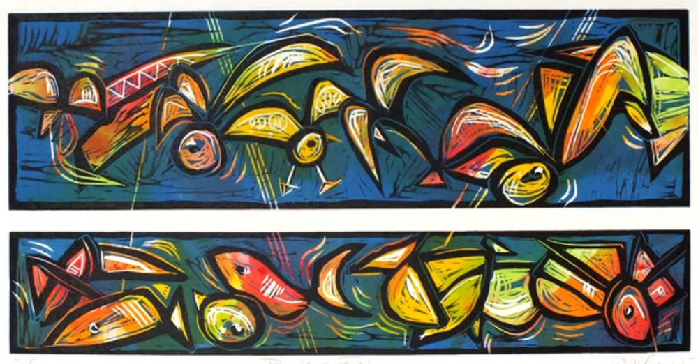 bird and fish painting