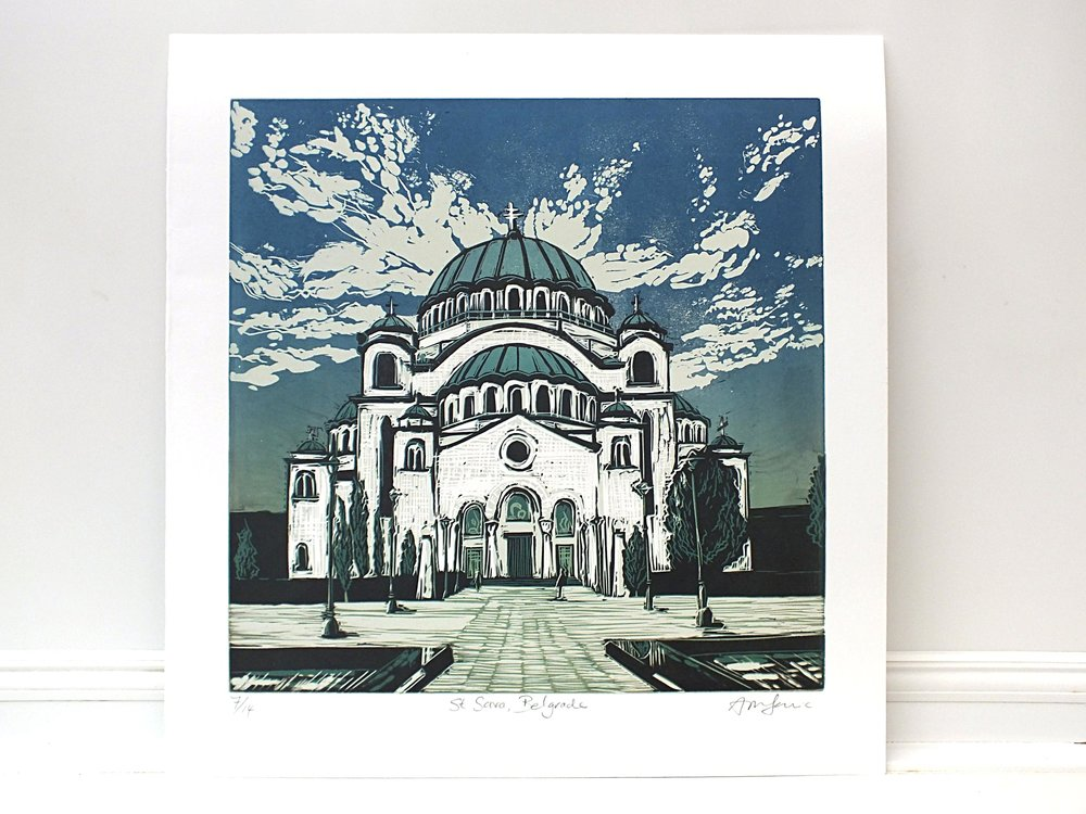 Linocut of Church Blue Sky Modern Print