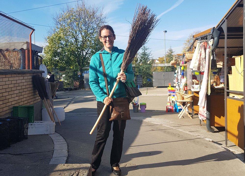 Ali with her broom (metla)