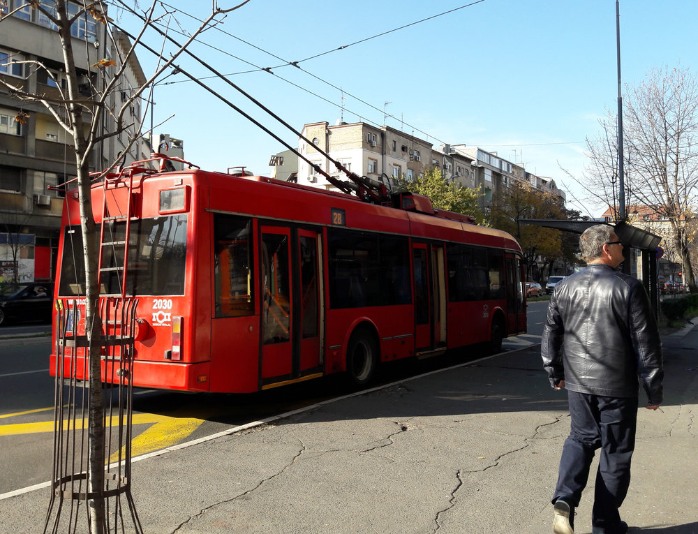 Trolejbus (Trolley bus attached to the electric cable like a tram)