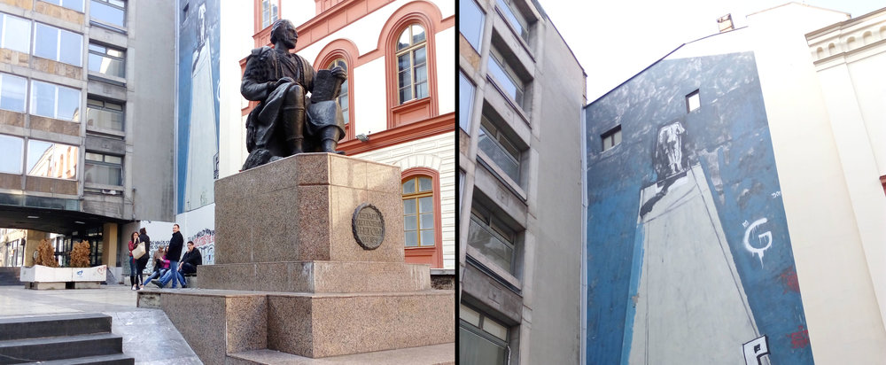 Sculpture of Petar Petrovič, 19th century philosopher & poet alongside a modern mural, central Belgrade