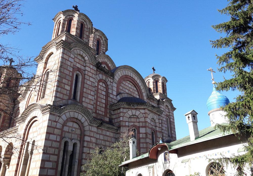 'Crkva Svetog Marka'(St Mark's Church) & the Russian Church (right)