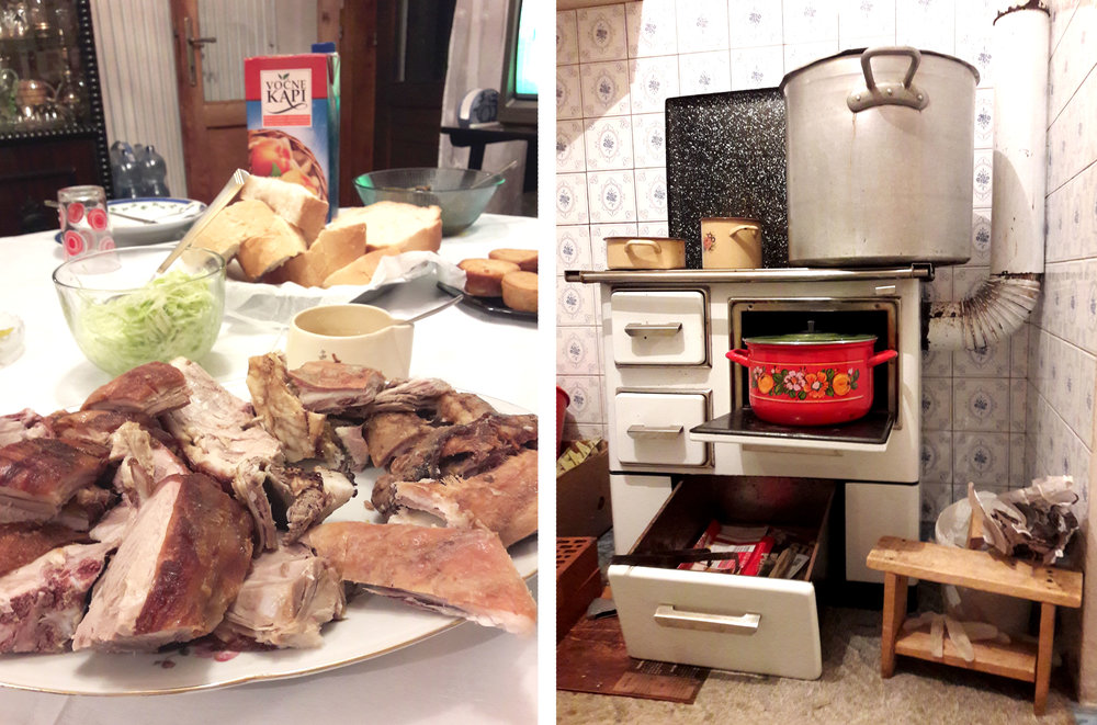 Roast meat and 'kiseli kupus' (sour cabbage) cooking on the stove