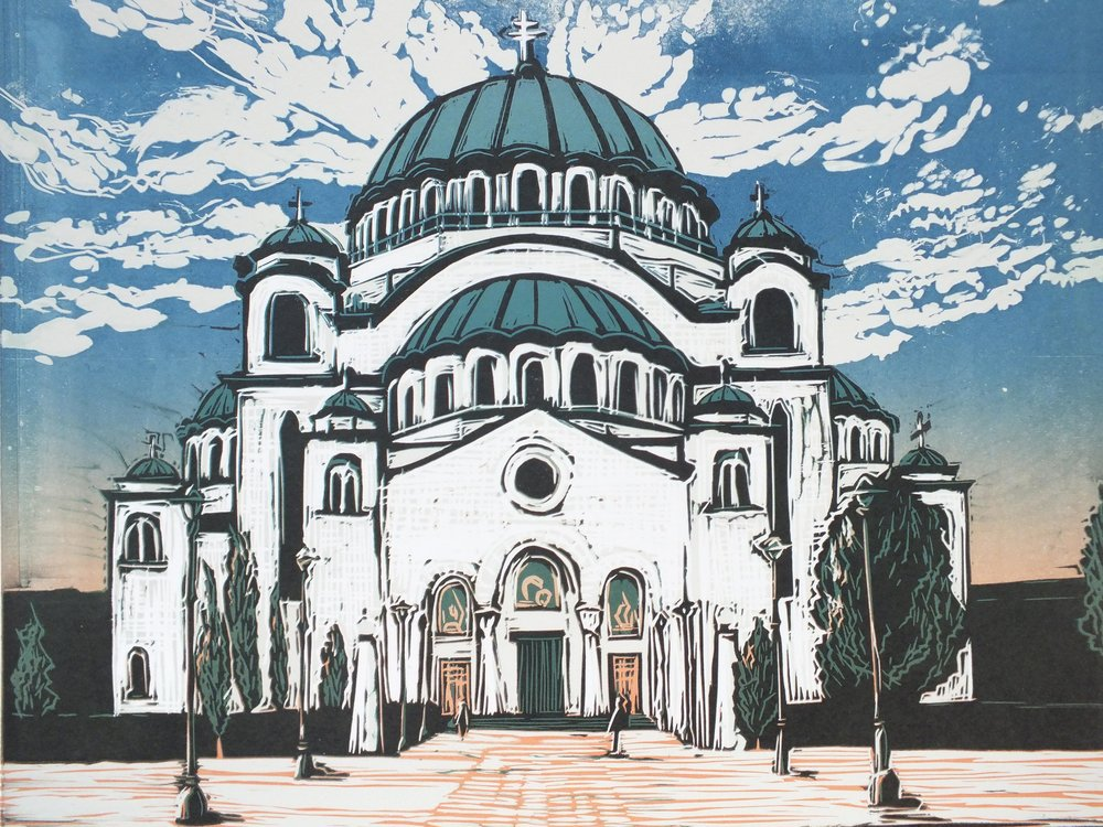 St Sava Orthodox Church in Belgrade, Linocut by Ali Savic [5]