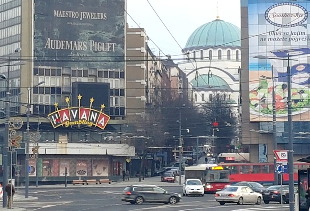 View of St Sava Church from Slavija Roundabout