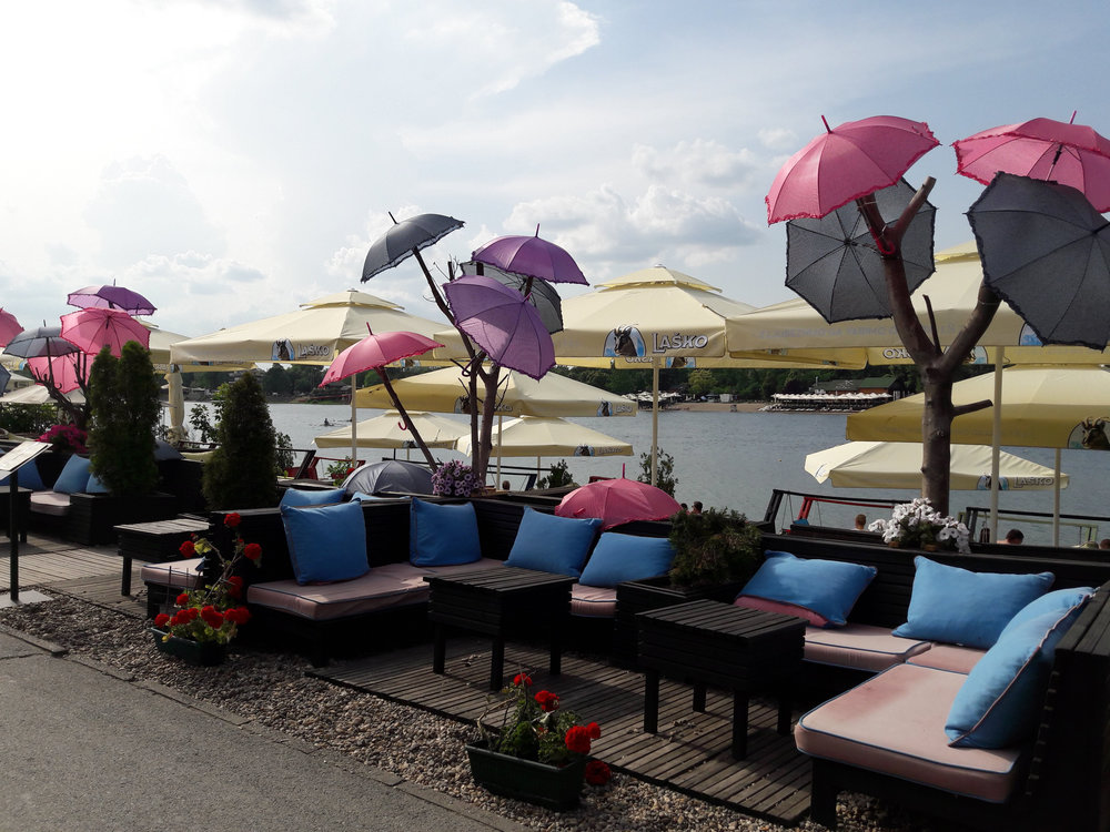 One of the many cafes and restaurants lining the shores of Belgrade's 'Beach'