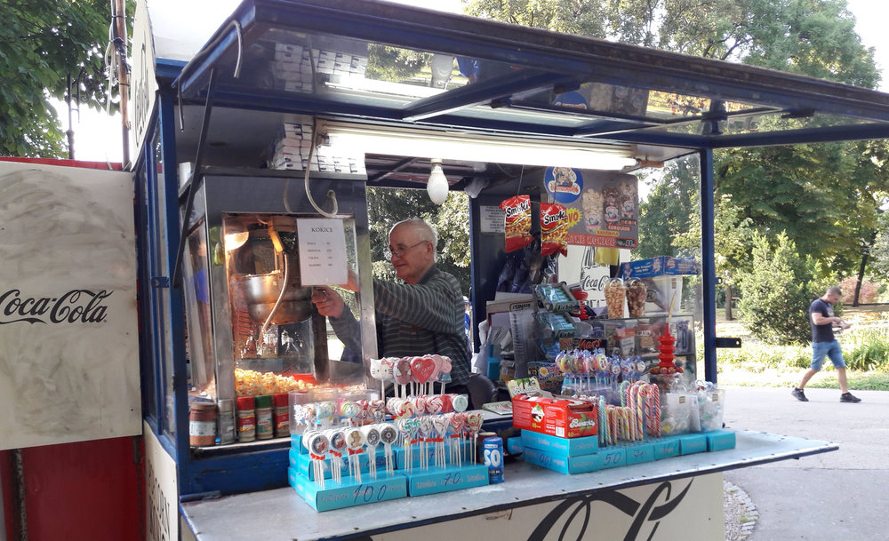Popcorn seller in Kalemegdan Park, Belgrade