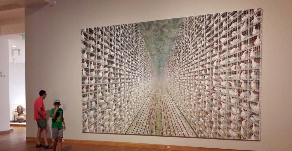 Unofficially and affectionately known as the 'Chicken Painting', it is officially an 'Untitled' painting by Minnesotan artist, Doug Argue at the Weisman.