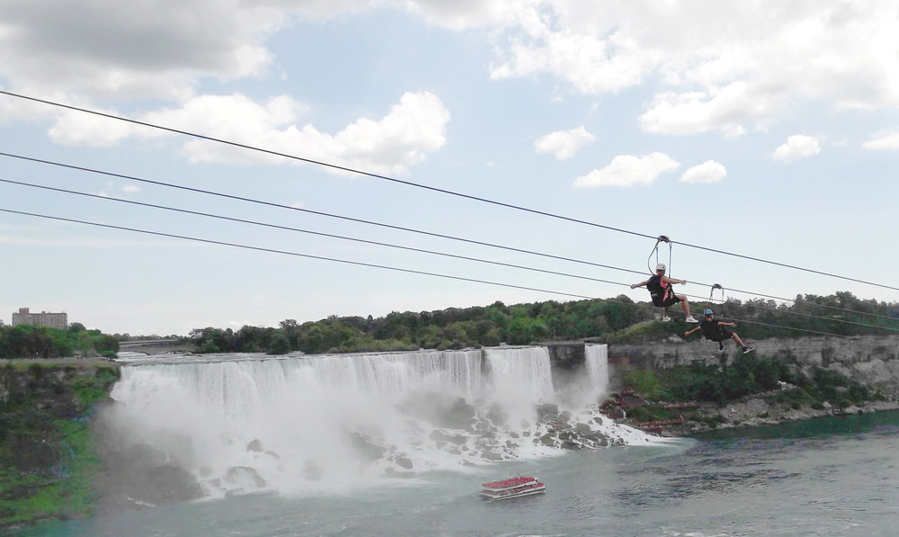Niagara Falls Zip Wire. Not everyone's cup of tea!