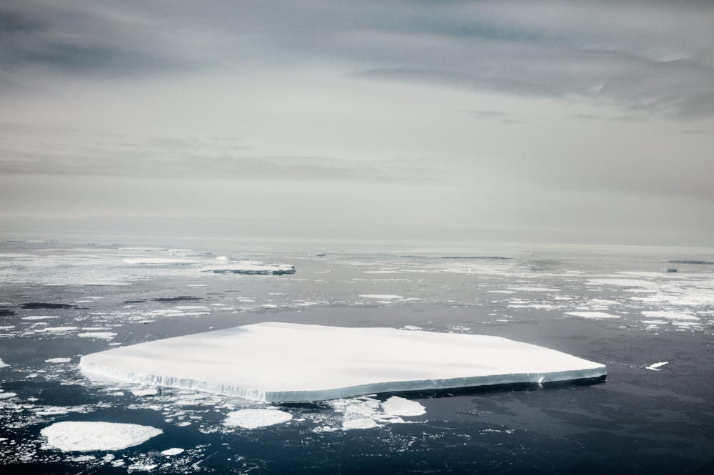 This massive chunk of free-floating sea ice is about 100 ft. thick from waterline to top—or roughly the height of a 10-story building. Courtesy of Time.