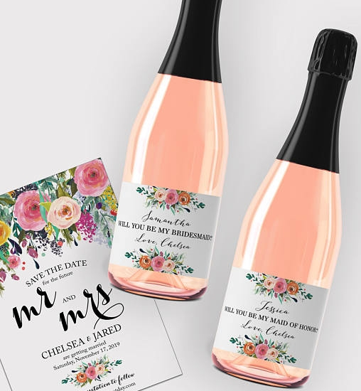 2. Personalize Wine Bottles - BlushRoseWeddings