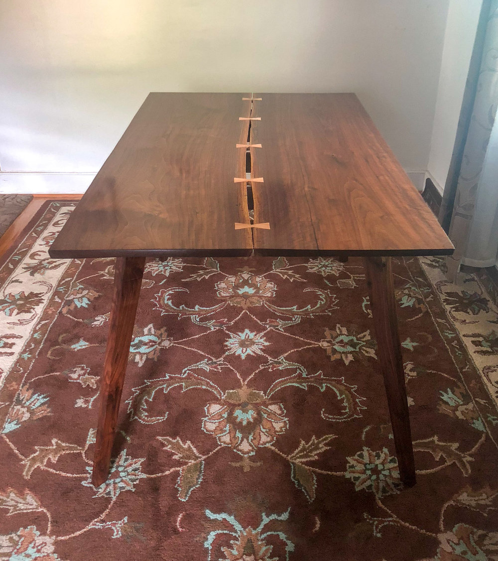 Custom Walnut Inverted Live Edge Kitchen Table with Maple Bow Tie Joinery