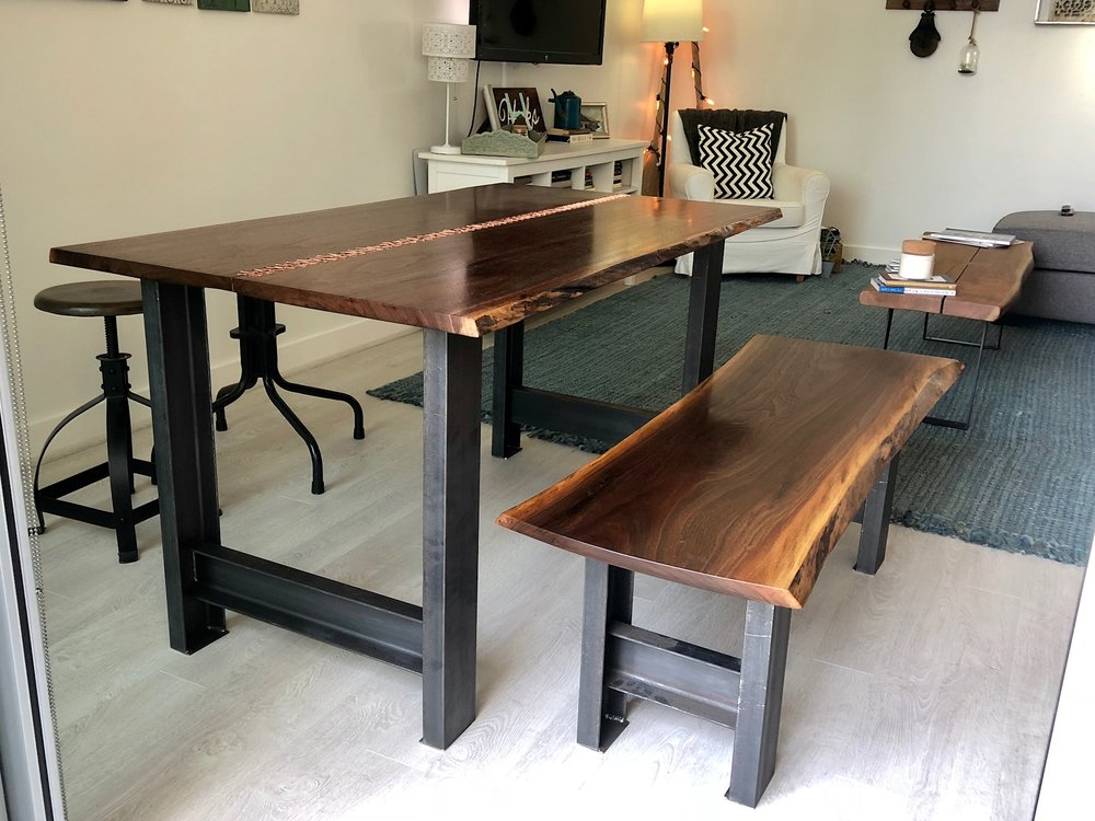 custom walnut live edge kitchen table with copper and live edge bench