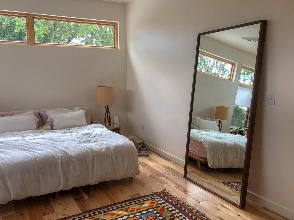 custom walnut floor mirror