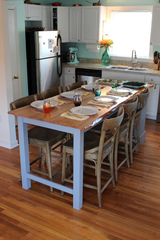 custom live edge maple kitchen island