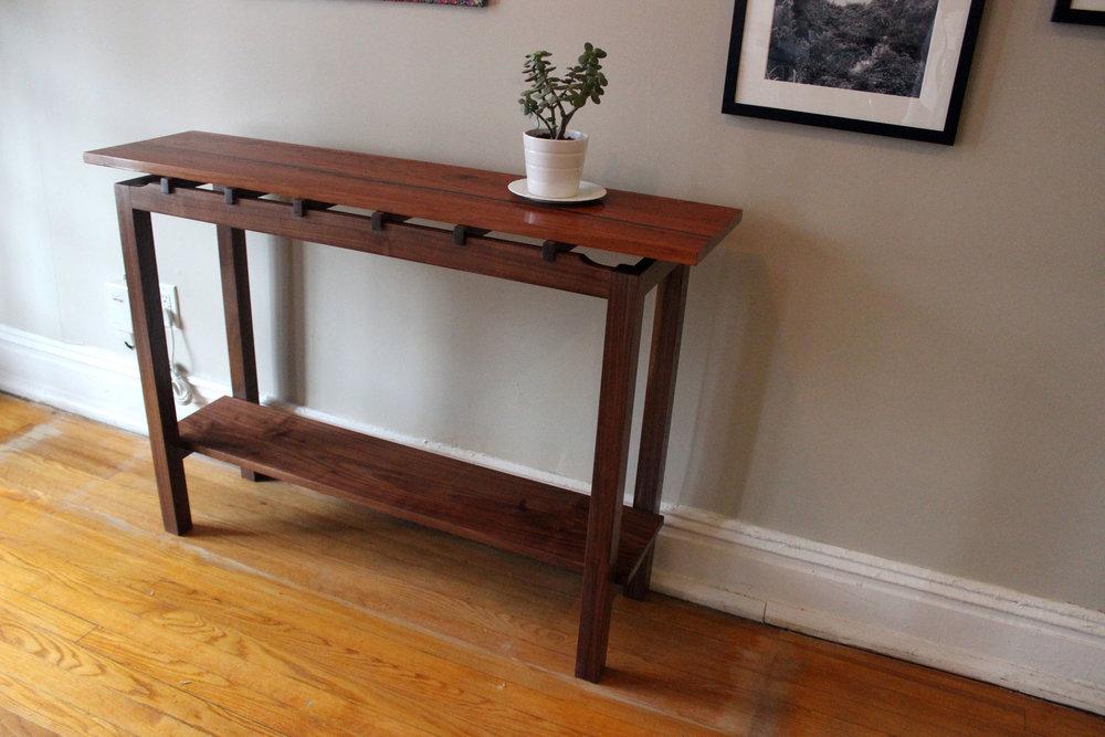 custom cherry and walnut console sofa table