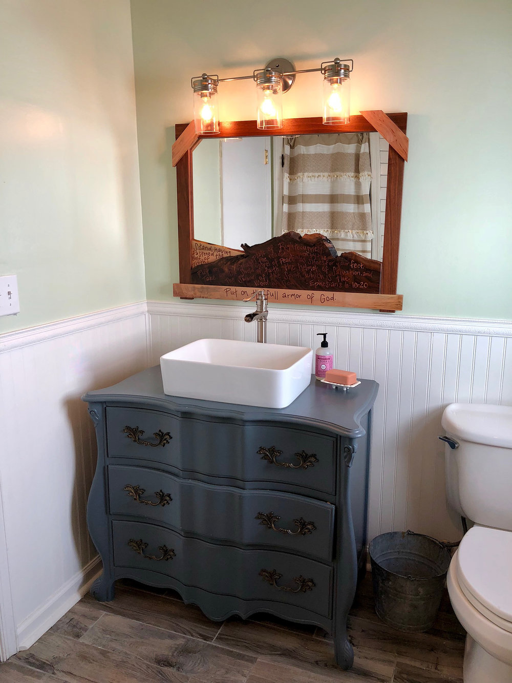 custom live edge mirror with text inlay and reconstructed reclaimed dresser vanity