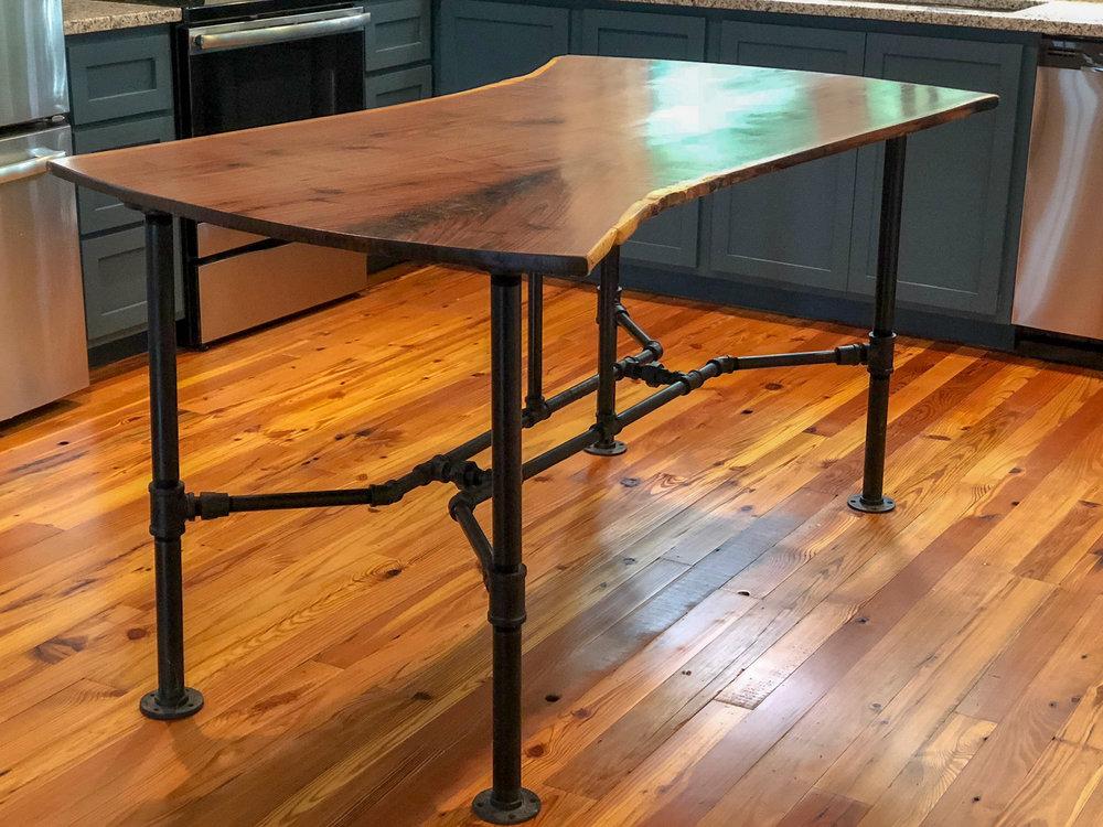 Custom Live Edge Walnut Kitchen Island with Black Pipe Legs Sallie Plumley Studio Richmond Virginia Sally Plumley Custom Woodworking and Furniture Design