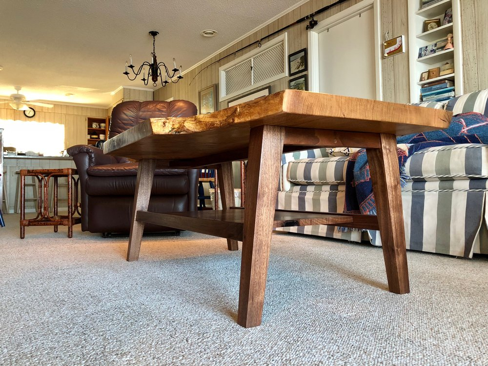 Custom Live Edge White Oak Coffee table with inlay Sallie Plumley Studio Richmond Virginia Sally Plumley Custom Woodworking and Furniture Design