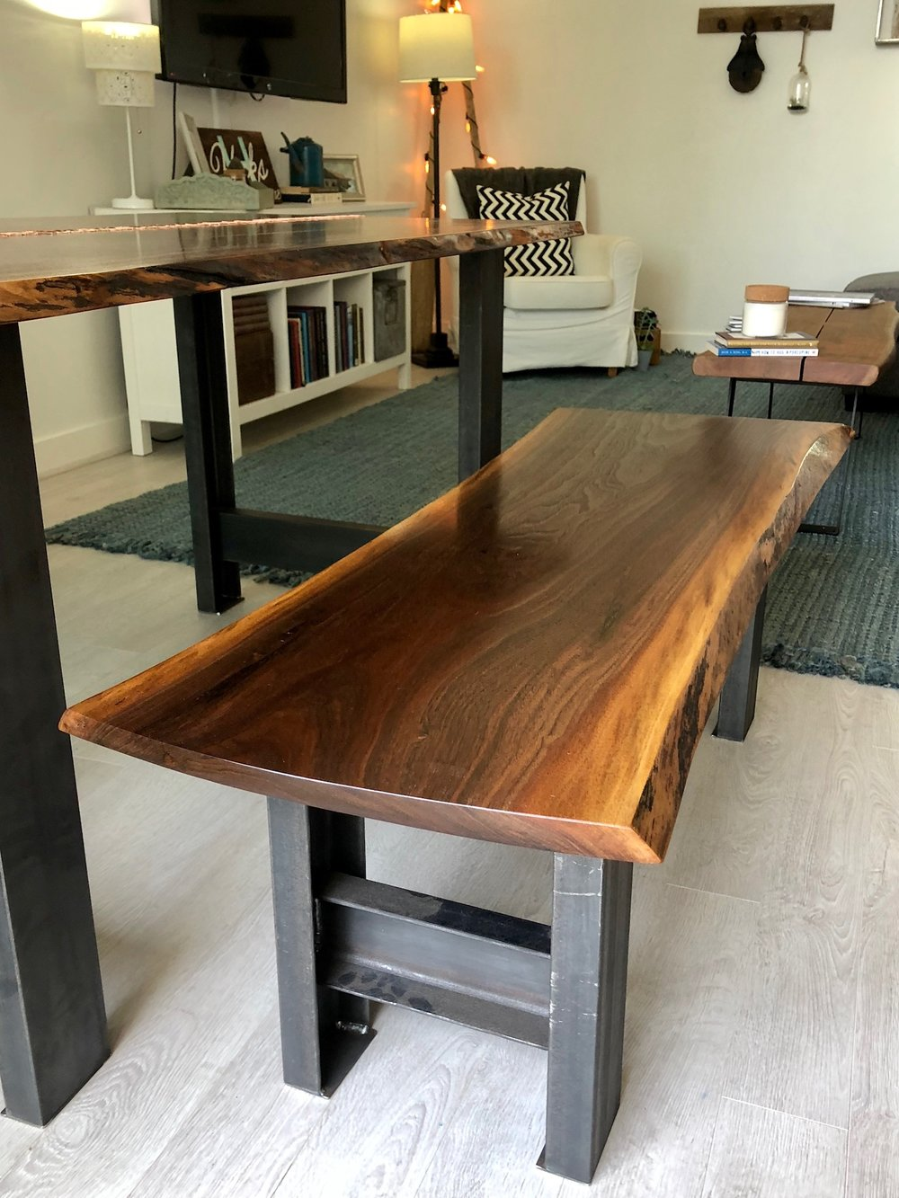 live edge walnut copper laced kitchen table with live edge walnut bench mid century modern furniture Sallie Plumley Studio Richmond Virginia Sally Plumley Custom Woodworking and Furniture Design