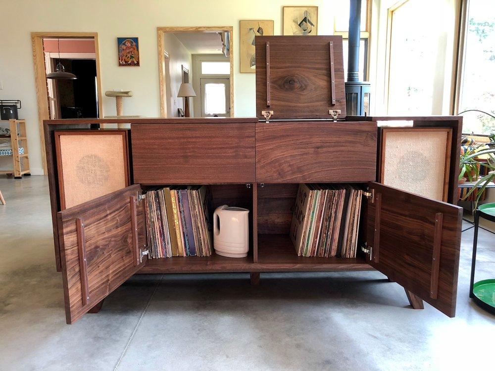 Custom Walnut Vintage Record Console Table Mid Century Modern Sallie Plumley Studio Richmond Virginia Sally Plumley Custom Woodworking and Furniture Design