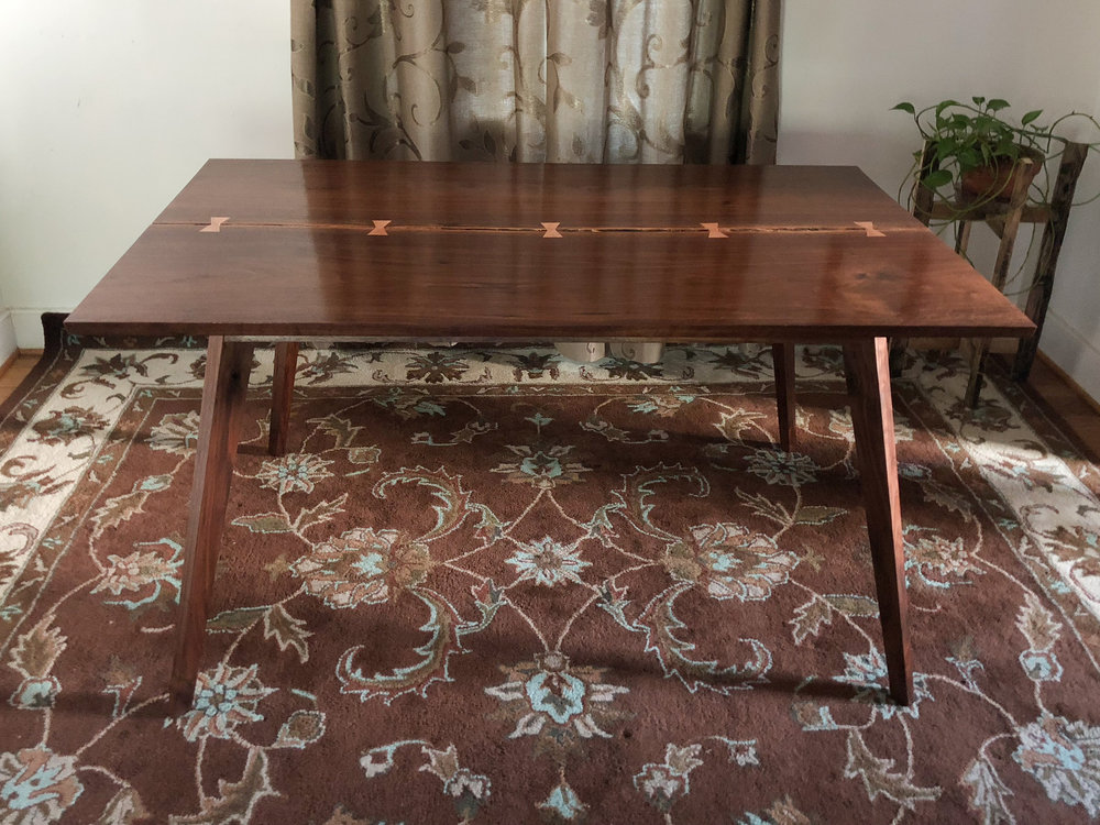 Custom walnut inverted live edge kitchen table mid century modern furniture Sallie Plumley Studio Richmond Virginia Sally Plumley Custom Woodworking and Furniture Design
