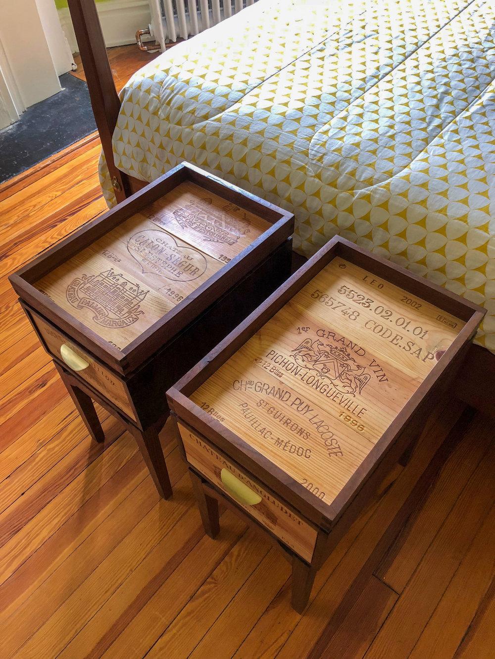 Custom Walnut Side Tables Reclaimed Wine Crate furniture Sallie Plumley Studio Richmond Virginia Sally Plumley Custom Woodworking and Furniture Design