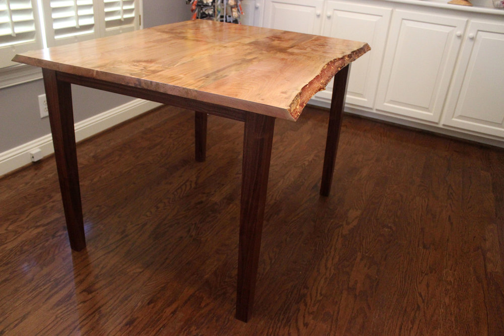 live edge maple and walnut kitchen table breakfast room table breakfast table mid century modern furniture Sallie Plumley Studio Richmond Virginia Sally Plumley Custom Woodworking and Furniture Design