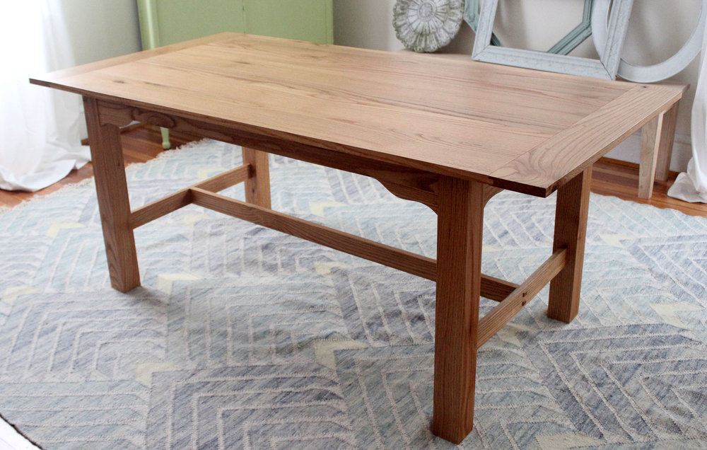custom red oak breadboard end kitchen table mid century modern furniture Sallie Plumley Studio Richmond Virginia Sally Plumley Custom Woodworking and Furniture Design