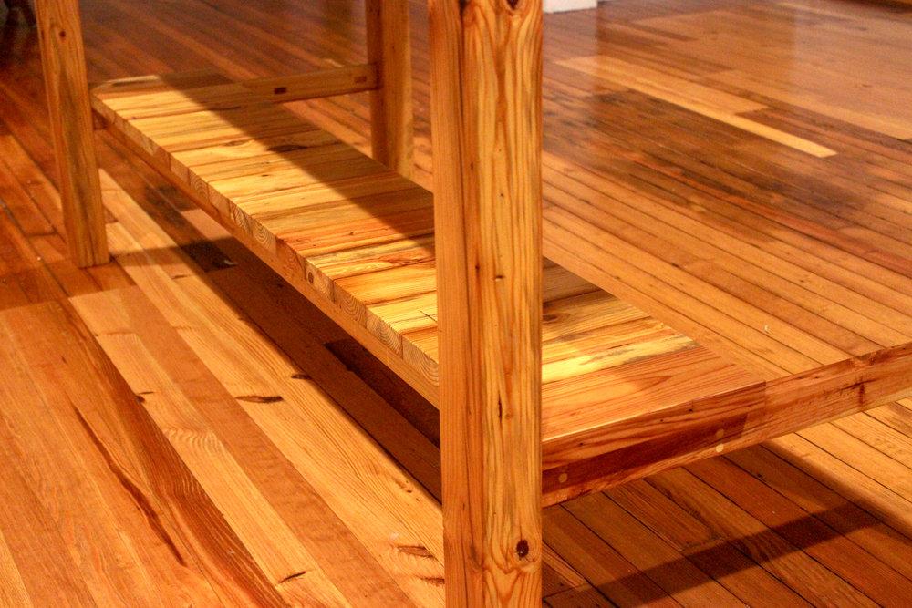 Custom Reclaimed Old Heart Pine Kitchen Island mid century modern furniture Sallie Plumley Studio Richmond Virginia Sally Plumley Custom Woodworking and Furniture Design