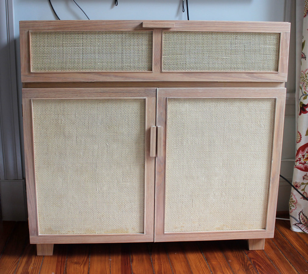 Custom White Oak and Cane Media Cabinet mid century modern furniture Sallie Plumley Studio Richmond Virginia Sally Plumley Custom Woodworking and Furniture Design